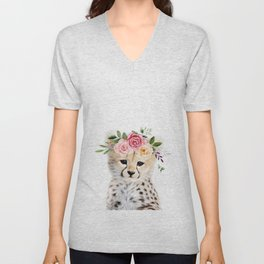 Baby Cheetah with Flower Crown Unisex V-Neck