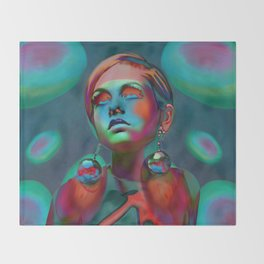 """Psychedelic Pop Fantasy"" (Twiggy II) Throw Blanket"