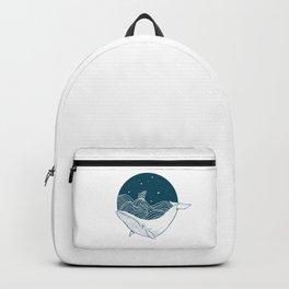 Minimalist Sperm Whale Art - Geometric Ocean Artwork - Boat Backpack