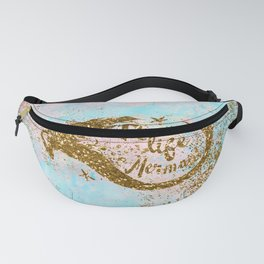 Faux Gold Glitter- REAL LIFE MERMAID On Sea Foam Fanny Pack