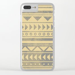 Ethnic geometric pattern with triangles circles and lines Clear iPhone Case