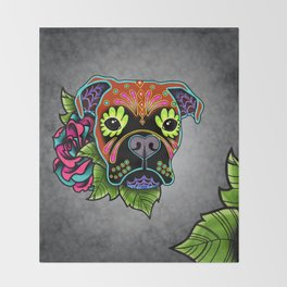 Boxer in Fawn - Day of the Dead Sugar Skull Dog Throw Blanket