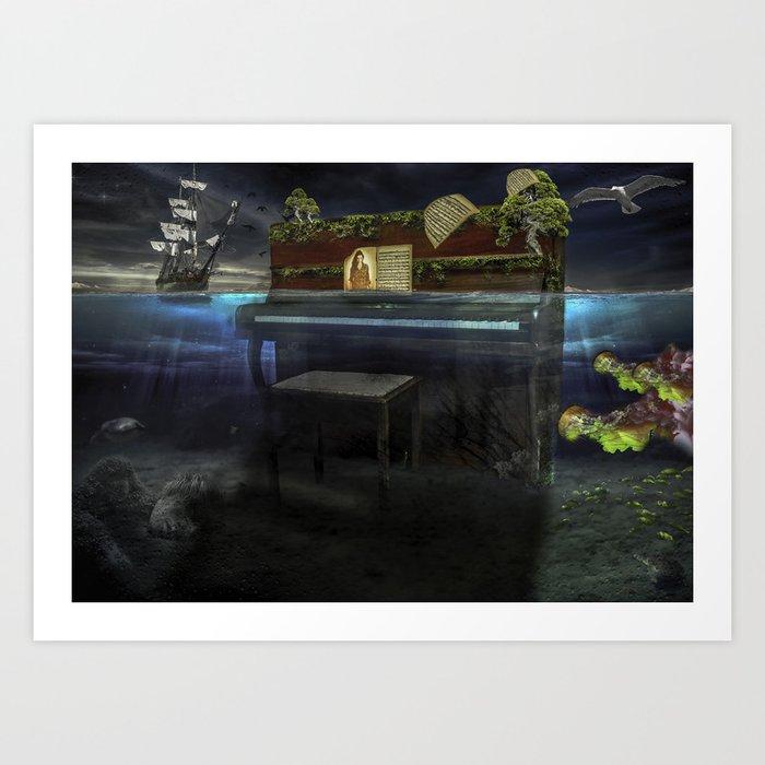 Sunken Piano Art Print