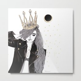 Royale - Street Art Fashion Illustration - Queen in Leather Metal Print