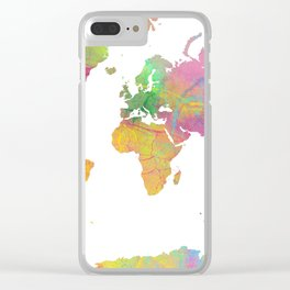 World Map - Watercolor 11 Clear iPhone Case