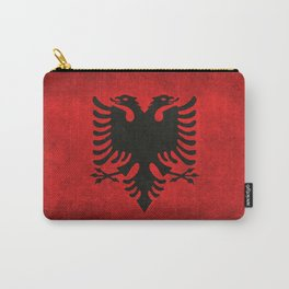 Albanian Flag in Vintage Retro Style Carry-All Pouch