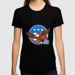 American Eagle Clutching Towing J Hook USA Flag Circle Retro T-shirt