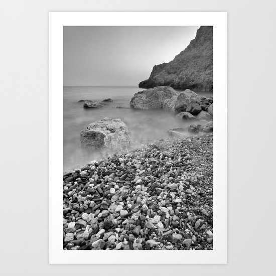 Stones at sunset. Mono Art Print