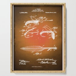 Fly Fishing Bait Patent Blueprint Drawing Sepia Serving Tray