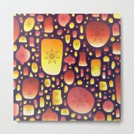 Tangled Lanterns Pattern Metal Print
