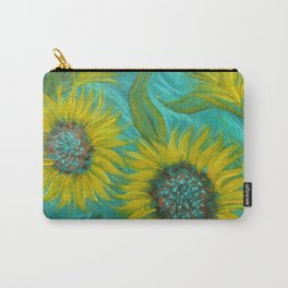 Sunflower Abstract on Turquoise I Carry-All Pouch