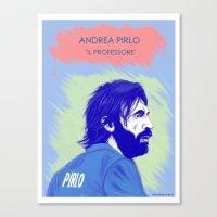 pirlo Canvas Prints featuring Andrea Pirlo - Il Professore by elrooneyo