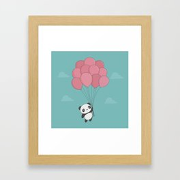 Kawaii Panda In The Sky Framed Art Print