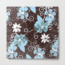 Summer blossom, brown and blue pattern Metal Print