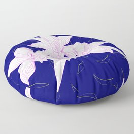 Pink and White Orchids, Navy Background Illustration Floor Pillow