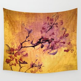 japanese crab apple flowers on golden tones Wall Tapestry
