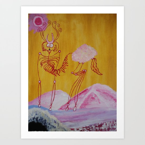 Thin Cartoon Deer Art Print
