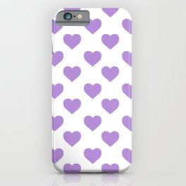 Hearts (Lavender & White Pattern) iPhone Case