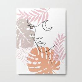 Jungle Line Girl Metal Print