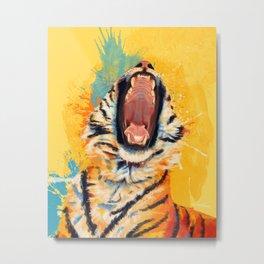 Wild Yawn - Tiger portrait Metal Print