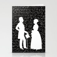 pride and prejudice Stationery Cards featuring Pride and Prejudice design by Evie Seo