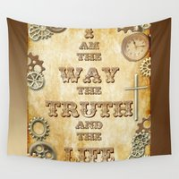 bible Wall Tapestries featuring Bible Verse Steampunk Way Truth Life by Whimsy and Nonsense