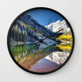 Maroon Bells Colorado Aspen USA Wall Clock