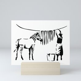 Banksy, A Woman Washing Zebra Stripes Artwork Reproduction, Posters, Tshirts, Prints Mini Art Print