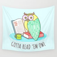 reading Wall Tapestries featuring Reading Owl by Sombras Blancas Art & Design