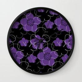 Purple Blooms Wall Clock