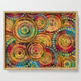 Colorful Circular Tribal  pattern with gold Serving Tray