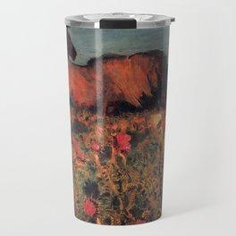 Wild Horses, Red Poppy, & Shepard Night landscape painting  by Mikhail Vrubel Travel Mug