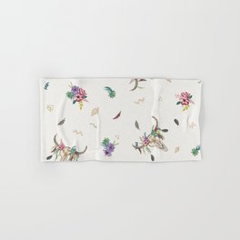 Cow skull with flowers Hand & Bath Towel