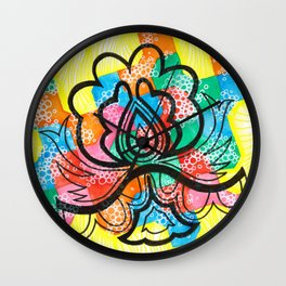 Black flower and colors Wall Clock