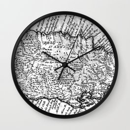 Vintage Map of Jamaica (1771) BW Wall Clock