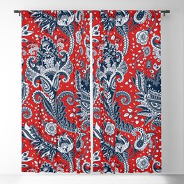 Red White & Blue Floral Paisley Blackout Curtain
