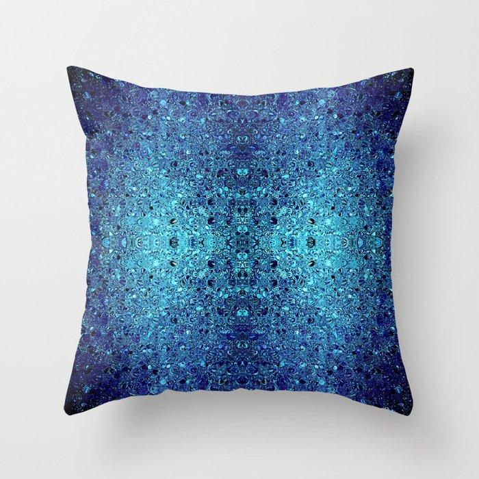 Deep blue glass mosaic Throw Pillow