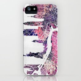 New York Skyline + Map iPhone Case