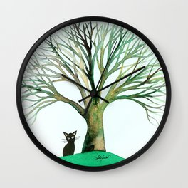 New Jersey Whimsical Black Cat Wall Clock