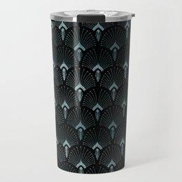 Teal Art Deco,art nouveau pattern, art deco black teal pattern, chic,elegant,great Gatsby,belle epoq Travel Mug