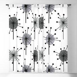 Atomic Era Sputnik Starburst Flowers White Gray Silver Blackout Curtain