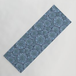 Blue Succulent Pattern Yoga Mat