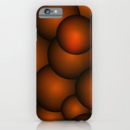 Background of bronze molecules and balls. iPhone Case
