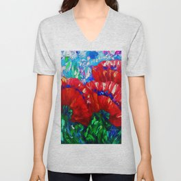 3 Poppies  by Lena Owens Unisex V-Neck