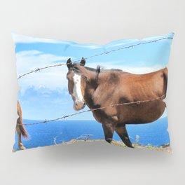 Horses against a blue sky Pillow Sham