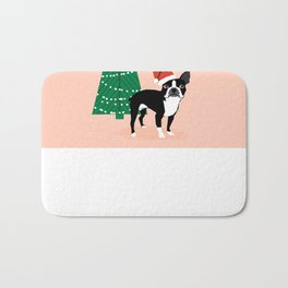 Boston Terrier Xmas - christmas tree holiday pet dog lover gift with boston terrier cute santa hat  Bath Mat