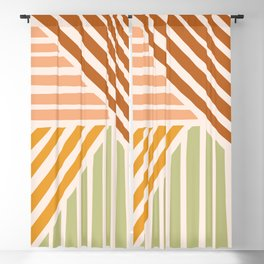 Abstract Shapes 144 in Retro Tones Blackout Curtain
