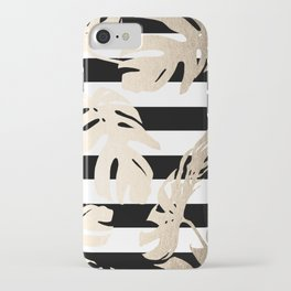 Simply Tropical Palm Leaves on Stripes iPhone Case