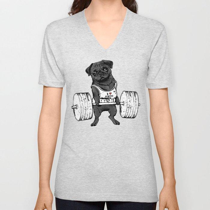 Black Pug Lift Unisex V-Ausschnitt