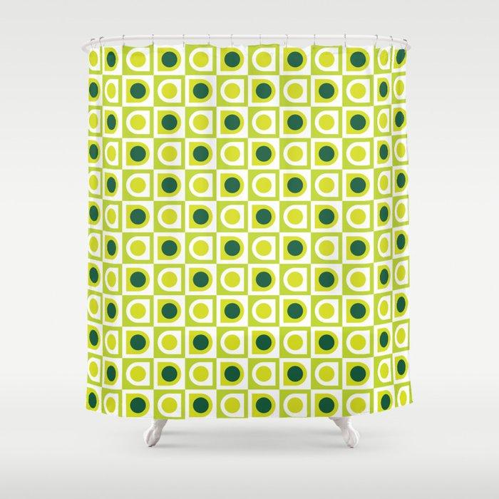 Geometric Pattern 210 Lime Green Shower Curtain